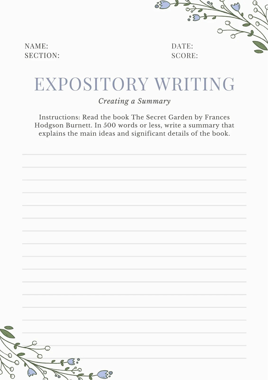 Blue And White Summary Writing Prompt Worksheet