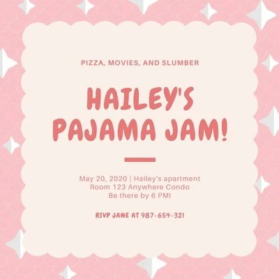 free pajama party invitations templates