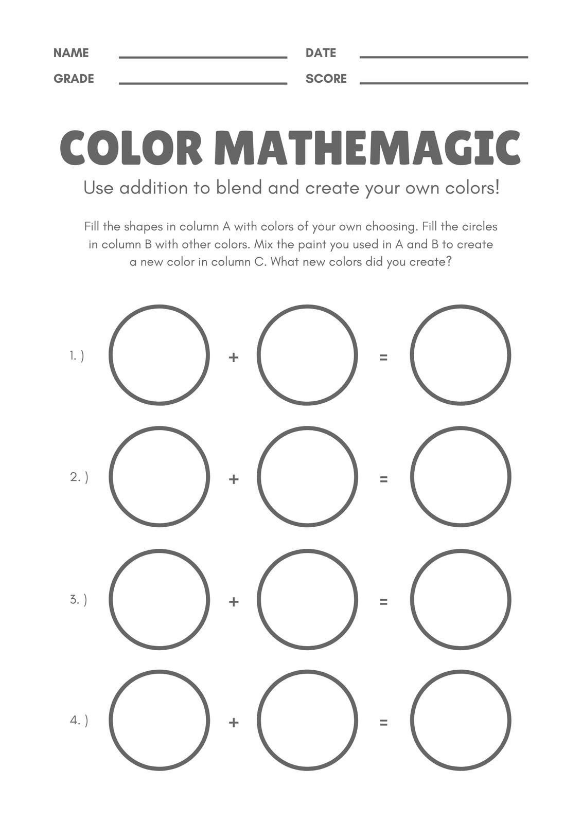 White And Black Circles Colors Math Games Worksheet