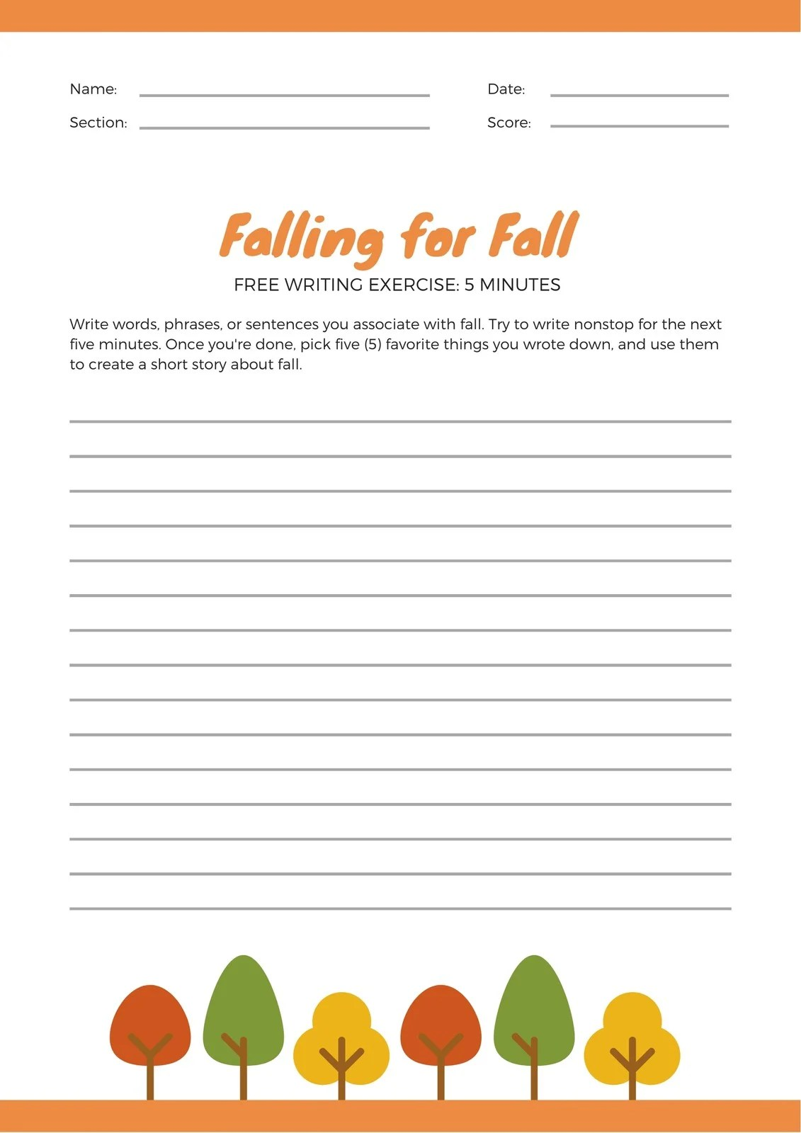 Orange Fall Autumn Writing Prompt Worksheet