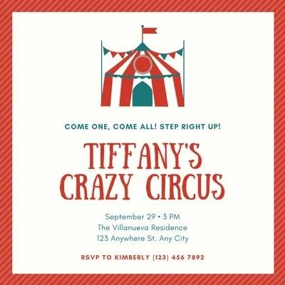 circus invitation templates
