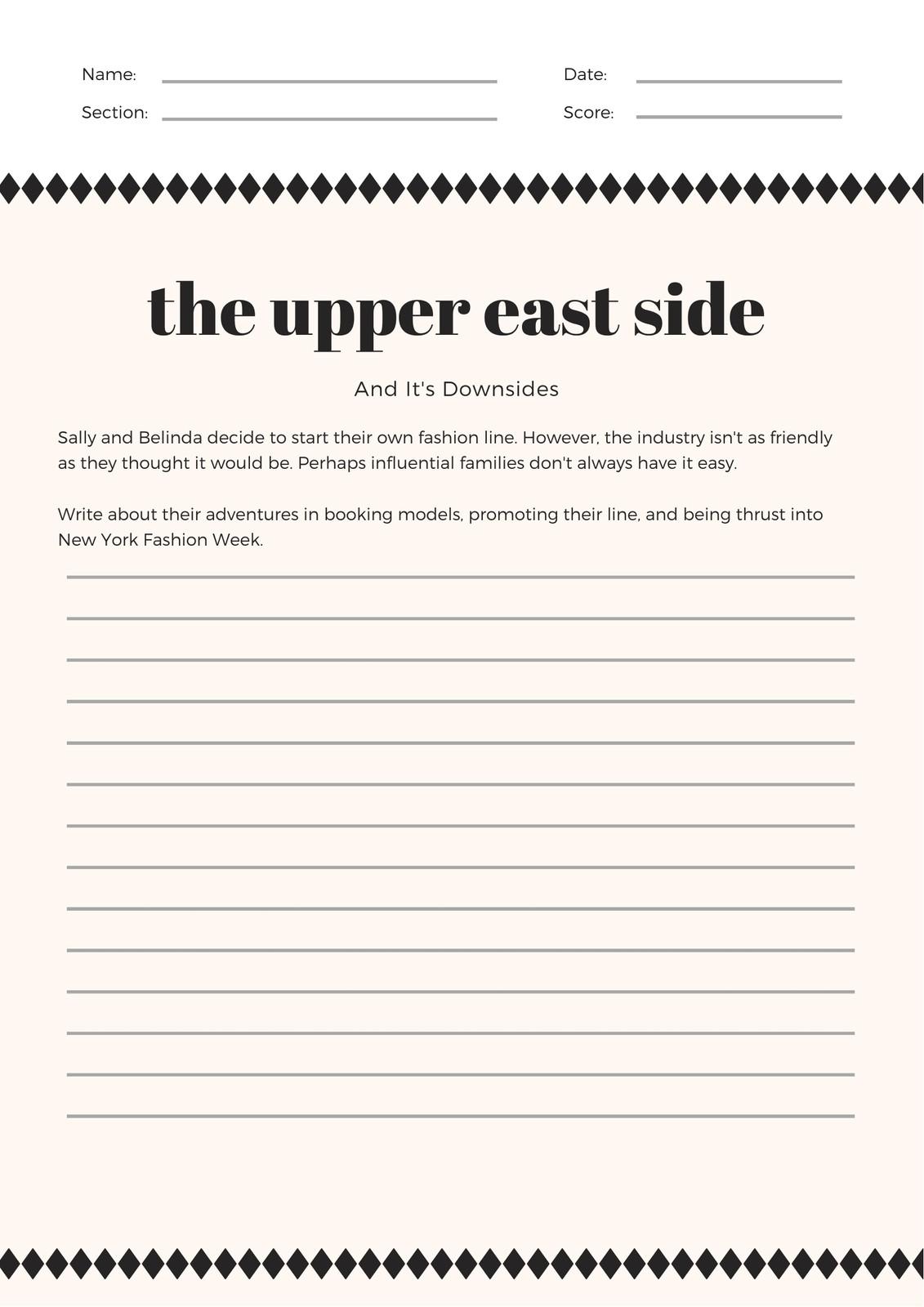 Cream Simple Diamond Patterned Writing Prompt Worksheet