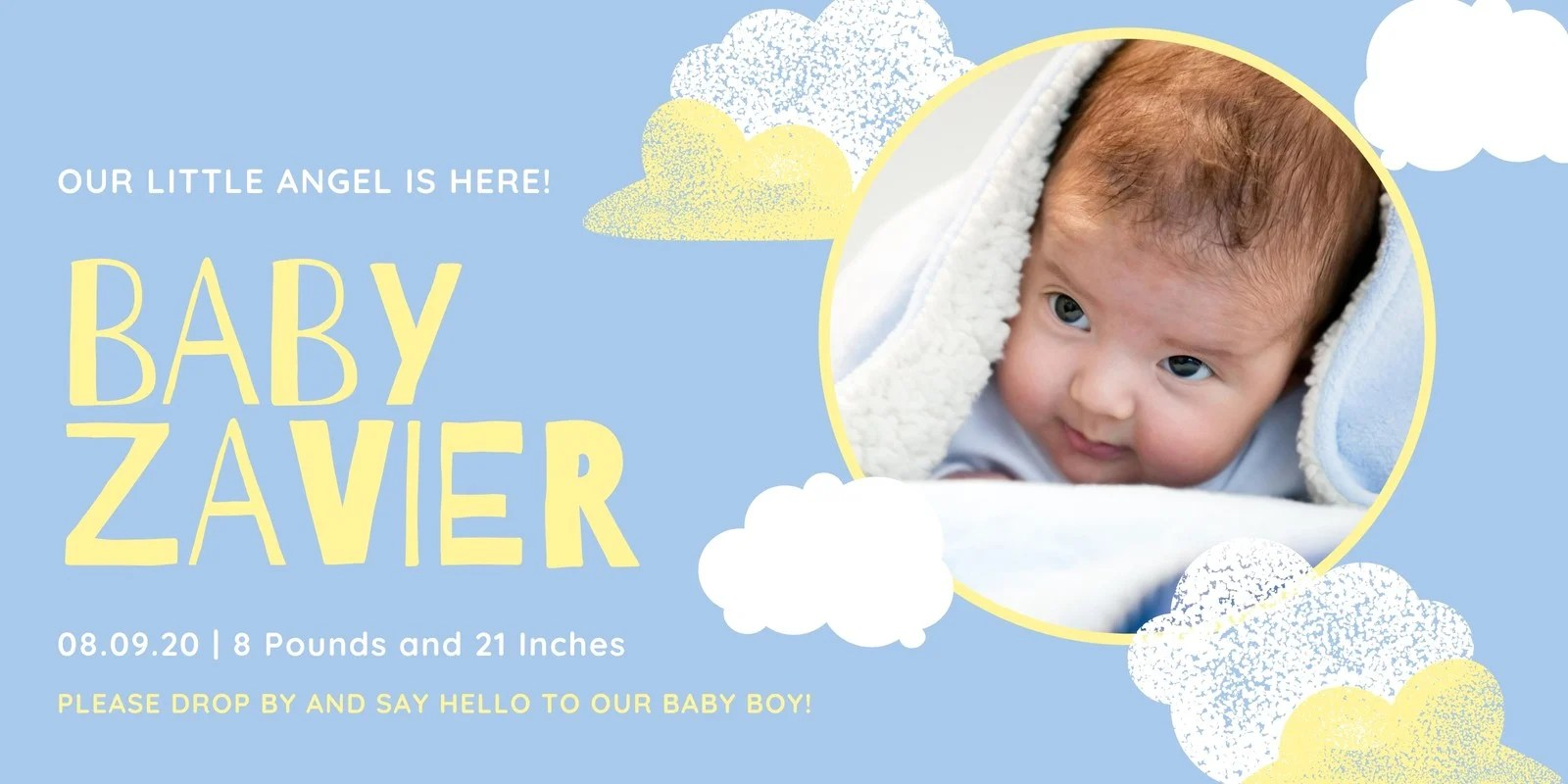 Starry cute baby birth announcement poster design. Free Printable Customizable Birth Announcement Templates Canva