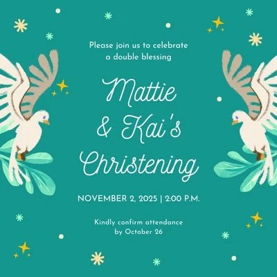 green doves kiddie type christening animated square invitation