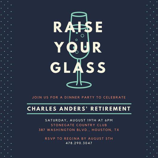Wine Glass Retirement Invitation Templates By Canva