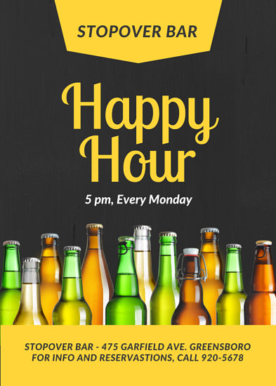 Happy Hour Beer Bar Flyer Templates By Canva