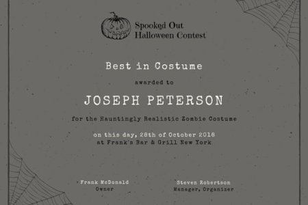 Leadership Award Certificate   Templates by Canva Grey Halloween Costume Award Certificate