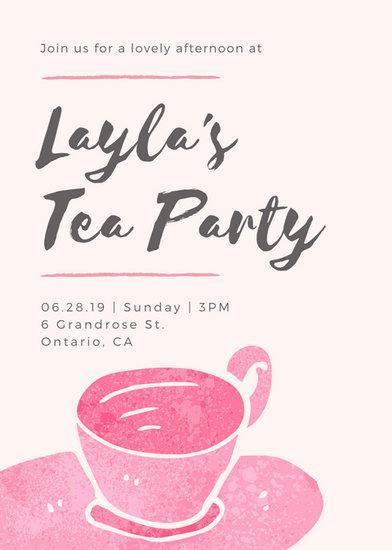 Customize 3999 Tea Party Invitation Templates Online Canva