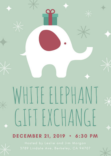 White Elephant With Gift Christmas Flyer Templates By Canva