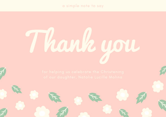 Customize 50 Christening Thank You Card Templates Online
