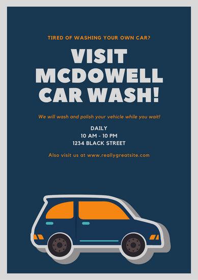 Light Blue Cute Car Cartoon Car Wash Poster Templates By Canva