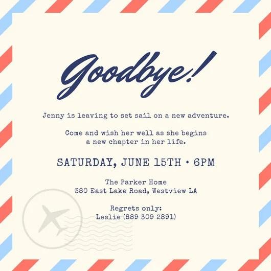 farewell templates free printable invitation going away