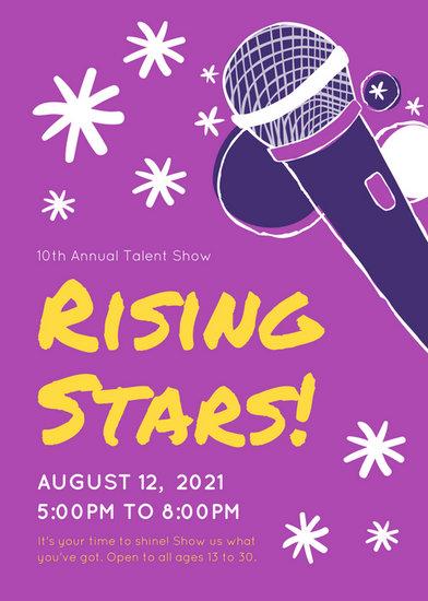 Microphone Illustration Purple Talent Show Flyer