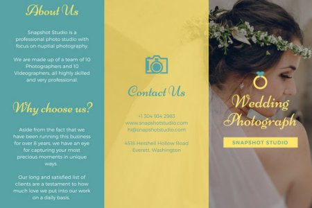 Bright Teal and Yellow Wedding Trifold Brochure   Templates by Canva Bright Teal and Yellow Wedding Trifold Brochure
