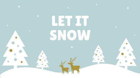 Pastel Blue With Deer Winter Desktop Wallpaper Templates
