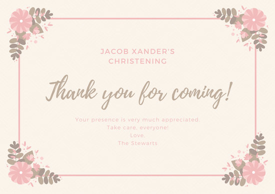 Flower Border Christening Thank You Card Templates By Canva