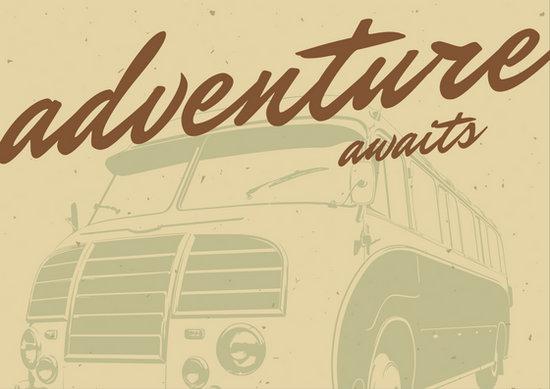 Beige and Brown Bus Vintage Postcard