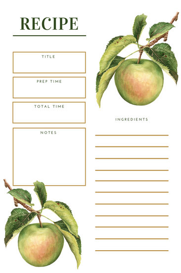 Large Recipe Card Template
