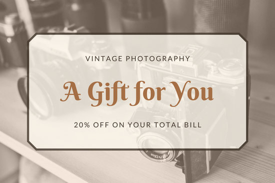Customize 2 646  Gift Certificate templates online   Canva Brown Vintage Photography Gift Certificate