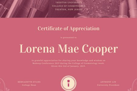 Customize 89  Appreciation Certificate templates online   Canva Pink Makeup Kit Appreciation Certificate