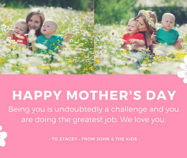 Pink White Simple Mothers Day Greeting Card