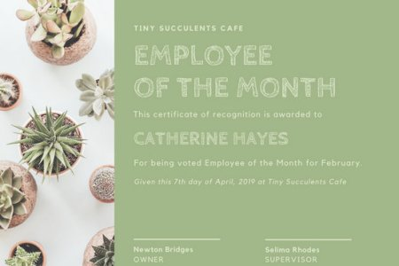 Customize 1 510  Employee Of The Month Certificate templates online     Pale Green Succulents Employee of the Month Certificate