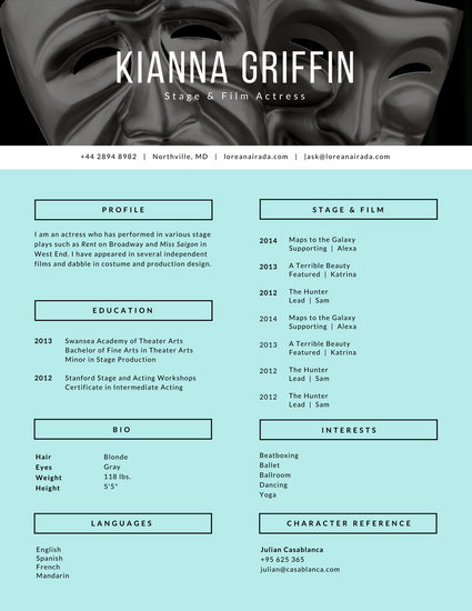 Customize 764  Modern Resume templates online   Canva Turquoise Black and White Drama Masks Modern Acting Resume
