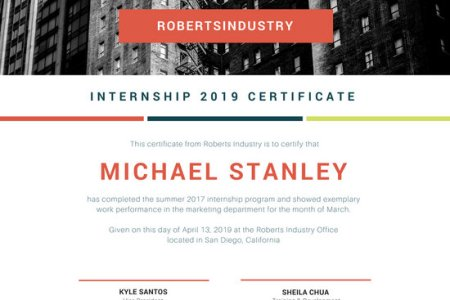 Customize 49  Internship Certificate templates online   Canva White with Grayscale Internship Certificate