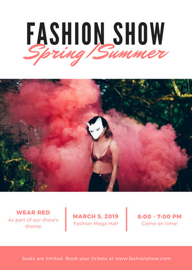 Customize 1 124  Modern Flyer templates online   Canva Coral   White Modern Fashion Show Flyer