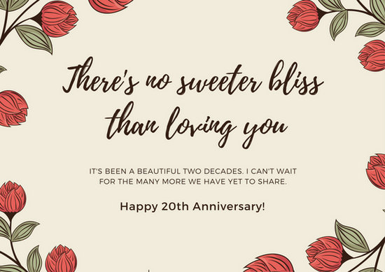 Beige Red Flowers Anniversary Card Templates By Canva
