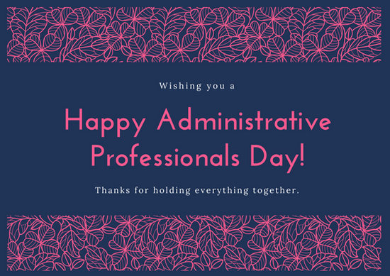 Blue And Pink Floral Administrative Professionals Day Card