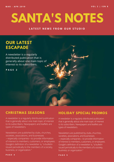 Red Photo Header Christmas Newsletter Templates By Canva