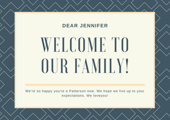 Dark Blue Square Pattern Welcome Card Templates By Canva