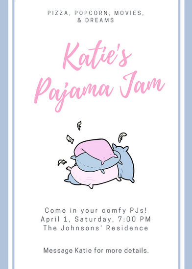 Customize 4002 Pajama Party Invitation Templates Online