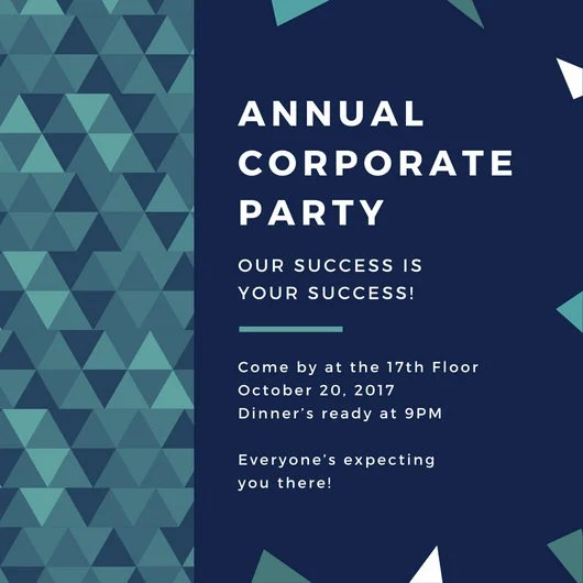 Blue Green Triangles Corporate Party Invitation Templates By Canva
