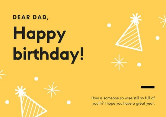 Yellow Amp Black Simple Dad Birthday Greeting Card