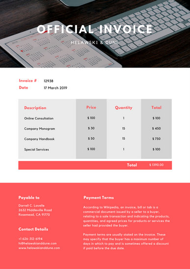 Bright Red and White Computer Photo Service Invoice   Templates by Canva Bright Red and White Computer Photo Service Invoice