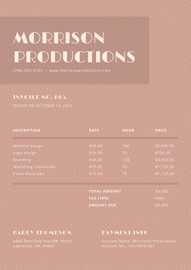 Customize 65  Service Invoice templates online   Canva Coral Simple Service Invoice