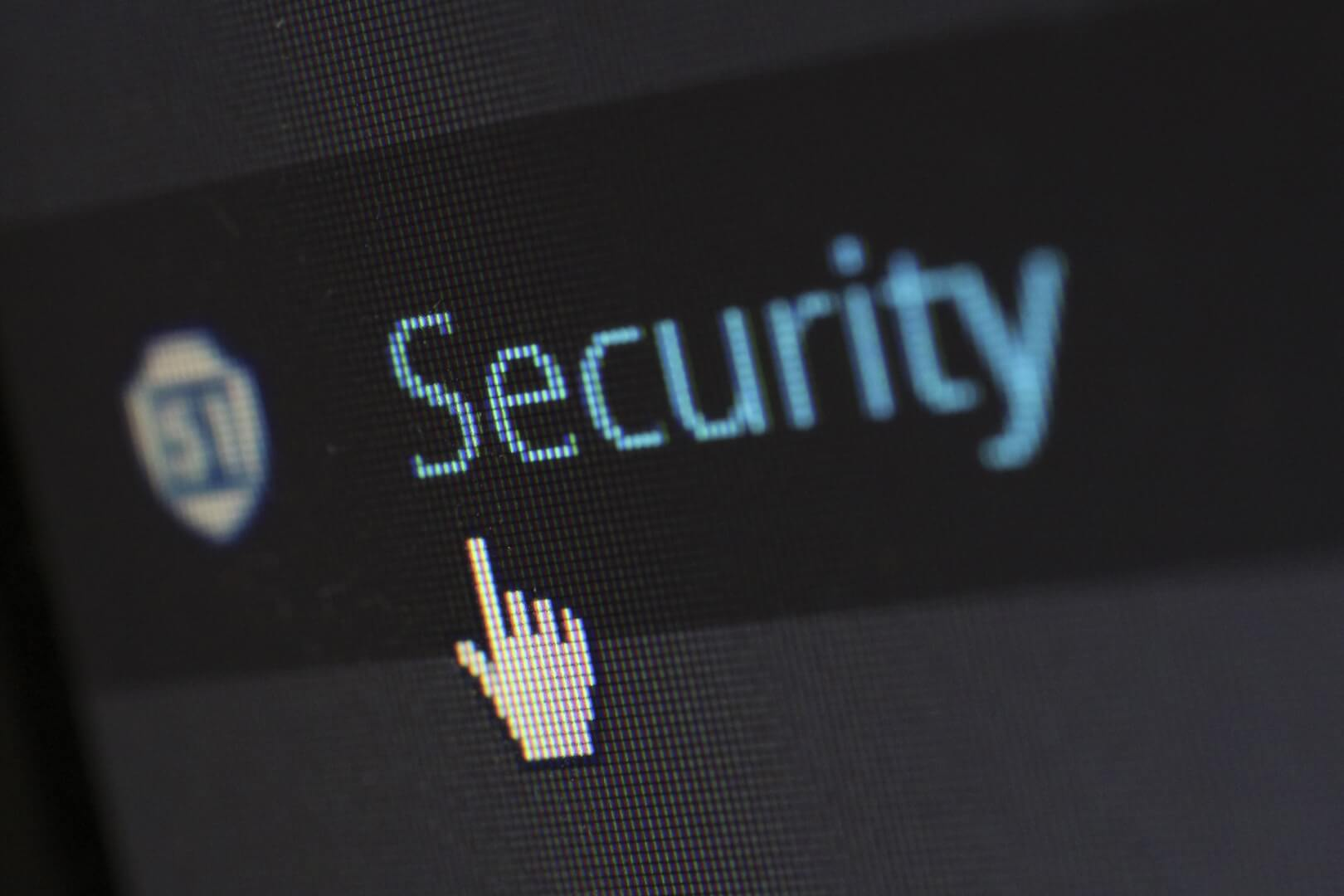 """picture of a computer cursor hovering over a button entitled """"Security"""""""