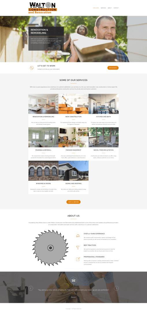 Screenshot of new Walton Construction Website's Homepage