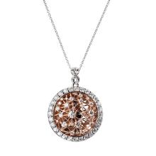 White and Rose Gold Diamond Pendant
