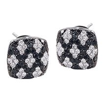 Black & Colorless diamond Criss-Cross pattern pave earrings