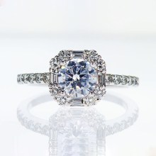 One of Kind Halo Diamond Engagement Ring