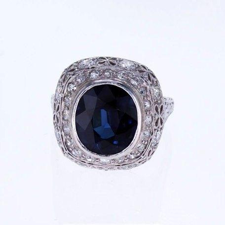 Vintage Blue Sapphire And Diamond Engagement Ring Market Street