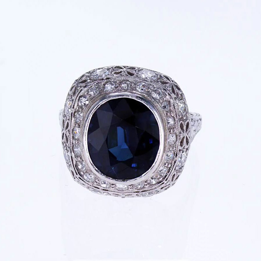 vintage blue sapphire and diamond engagement ring market