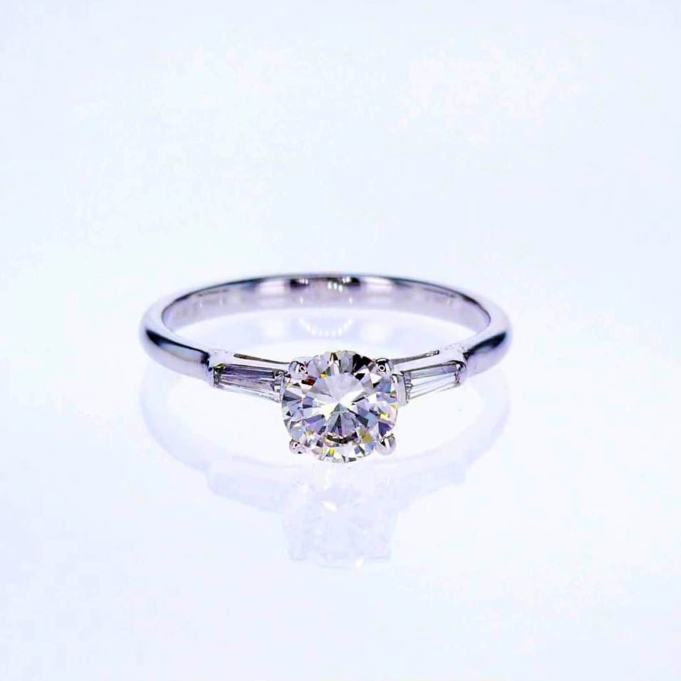 ct wedding yellow cluster diamond ring rings gold baguette real engagement princess rng
