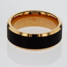 Gold Plated Black Tungsten Wedding Band
