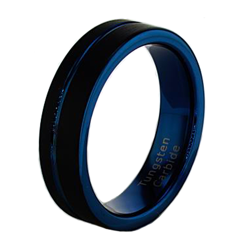 Mens Wedding Bands Tungsten.Black And Dark Blue Tungsten Wedding Band 6mm