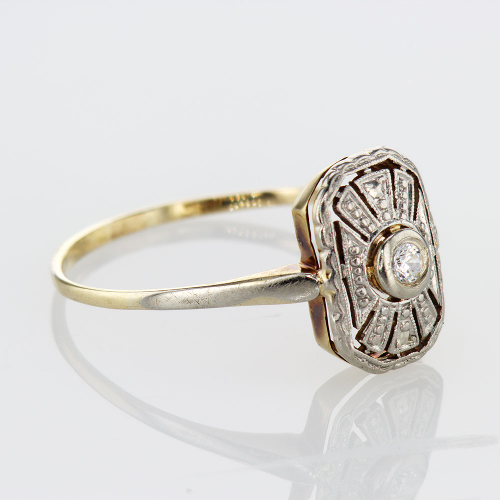 Two Tone Vintage Art Deco Diamond Ring