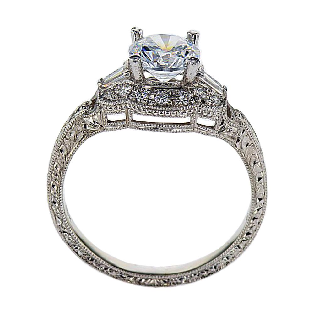 Vintage inspired Halo Engagement Ring, 18k White Gold (semi,mount)
